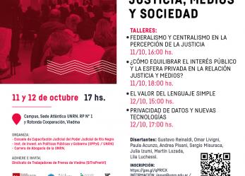 """Segundas Jornadas """"Justicia, Medios y Sociedad"""" en la UNRN"""
